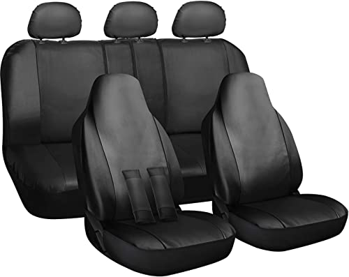 lowest OxGord PU Leather Solid Black Car Seat Cover 10 Piece Set - Airbag - Front outlet sale High Back Bucket - Universal Fit for Car, wholesale Truck, SUV, or Van sale