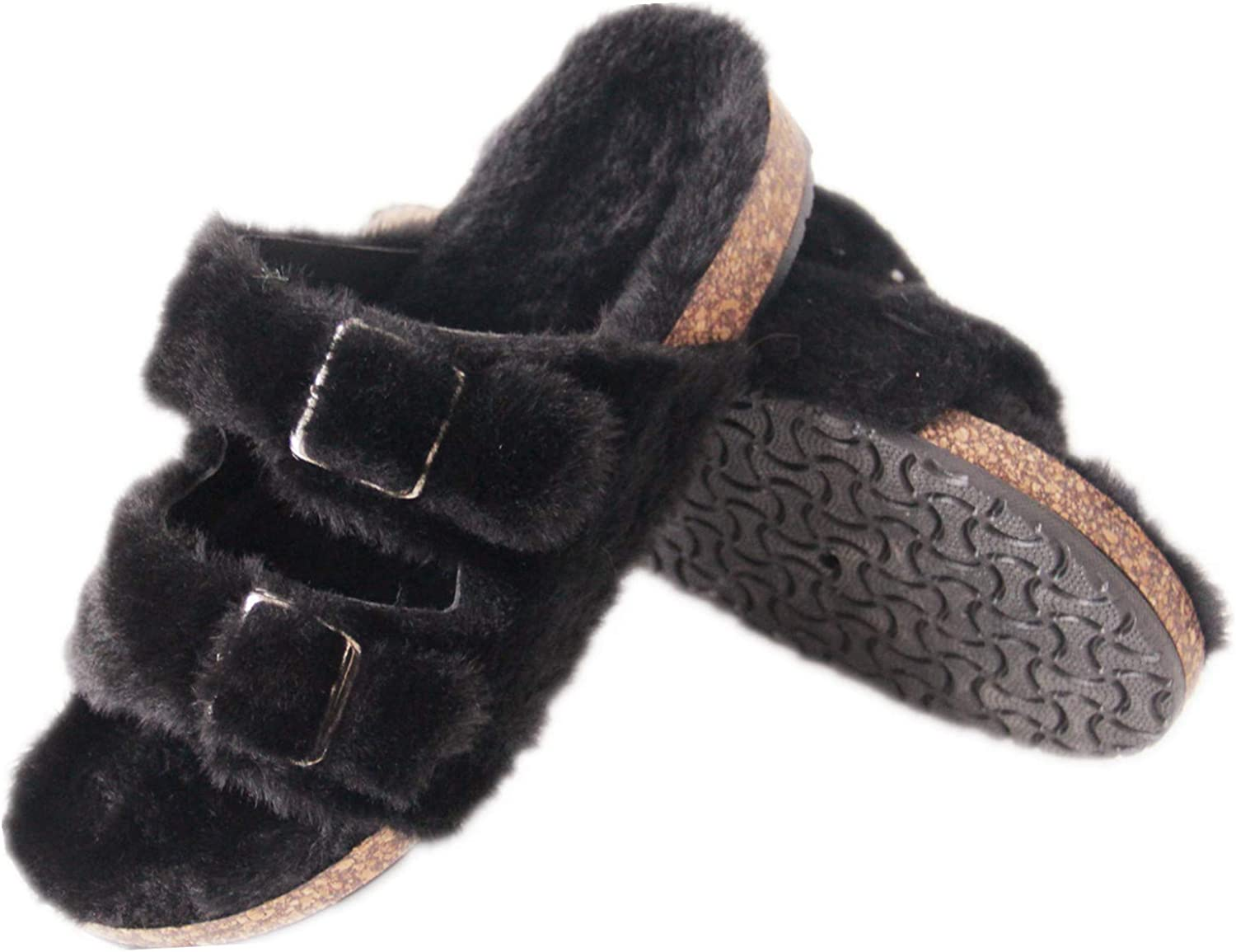 Saralis Women's Furry Slippers Fuzzy fur Slides Two Buckle Slide Sandals Cork Footbed Shoes Sandal