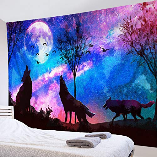 LB Tapeçaria de lobo psicodélico predador lobos uivando sobre montanha Tapeçaria lua cheia em galáxia céu estrelado tapeçaria para meninos quarto masculino sala de estar dormitório decoração 178 cm L x 23 cm C