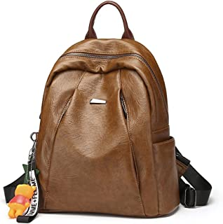 Women Backpack Leisure Bag Purse PU Washed Leather Rucksack Lightweight Leisure Bag Shoulder Bag,Orange