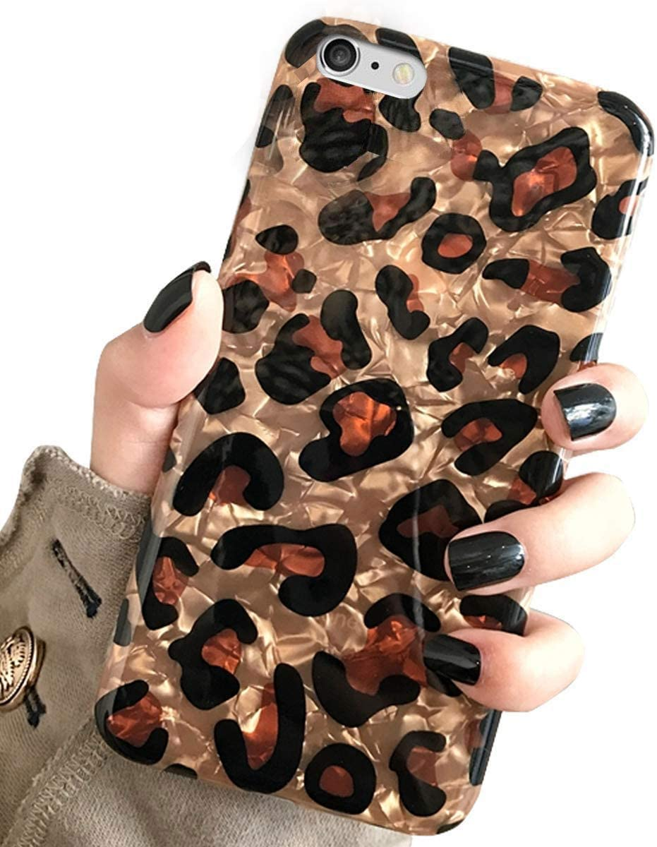 iPhone 6 Plus & iPhone 6s Plus Case, J.west Luxury Sparkle Bling Glitter Translucent Leopard Cheetah Print Soft Silicone Slim Protective Phone Case Cover for Girls Women for iPhone 6s+Plus/6 Plus
