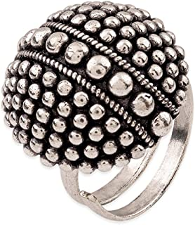 VOYLLA Rava Ball Oxidized Statement Ring for Women, Silver, 8905124136173