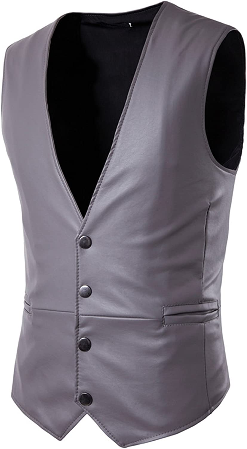 C2S Sleeveless Casual Leather Waistcoat Single Breasted Gothic Vintage Style Vests