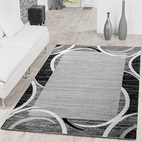 Paco Home Tapis de Salon Moderne avec Bordure Tapis De Marque Moucheté Gris Noir Crème, Dimension:160x220 cm