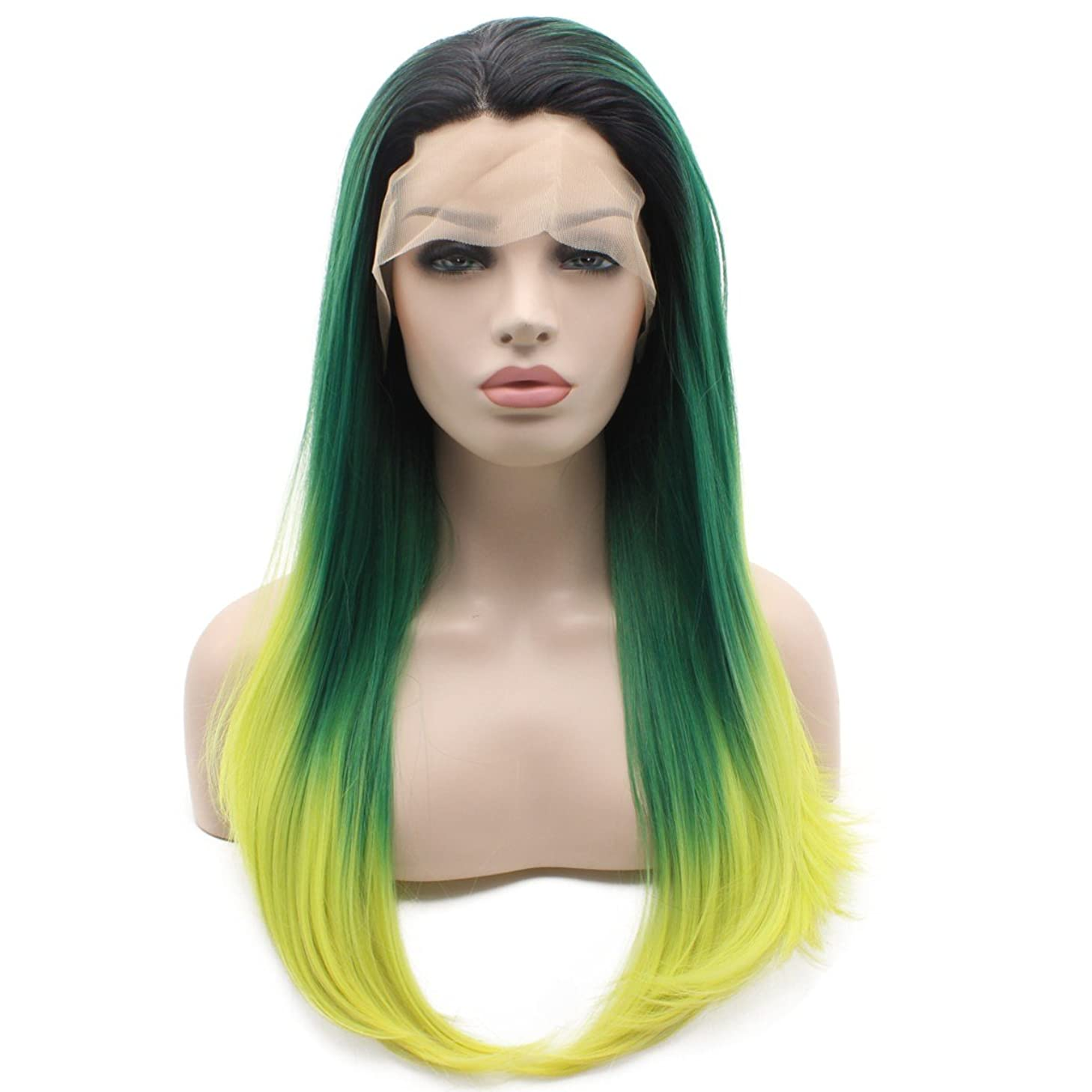 Iewig Long Straight Synthetic Lace Front Wig Half Hand Tied Heat Friendly Dark Root Green Yellow Three Tone Wig