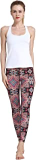 MUMUWU Women Yoga Pants High Waist Sport Workout Running Power Flex Yoga Leggings Printed Red Paisley L