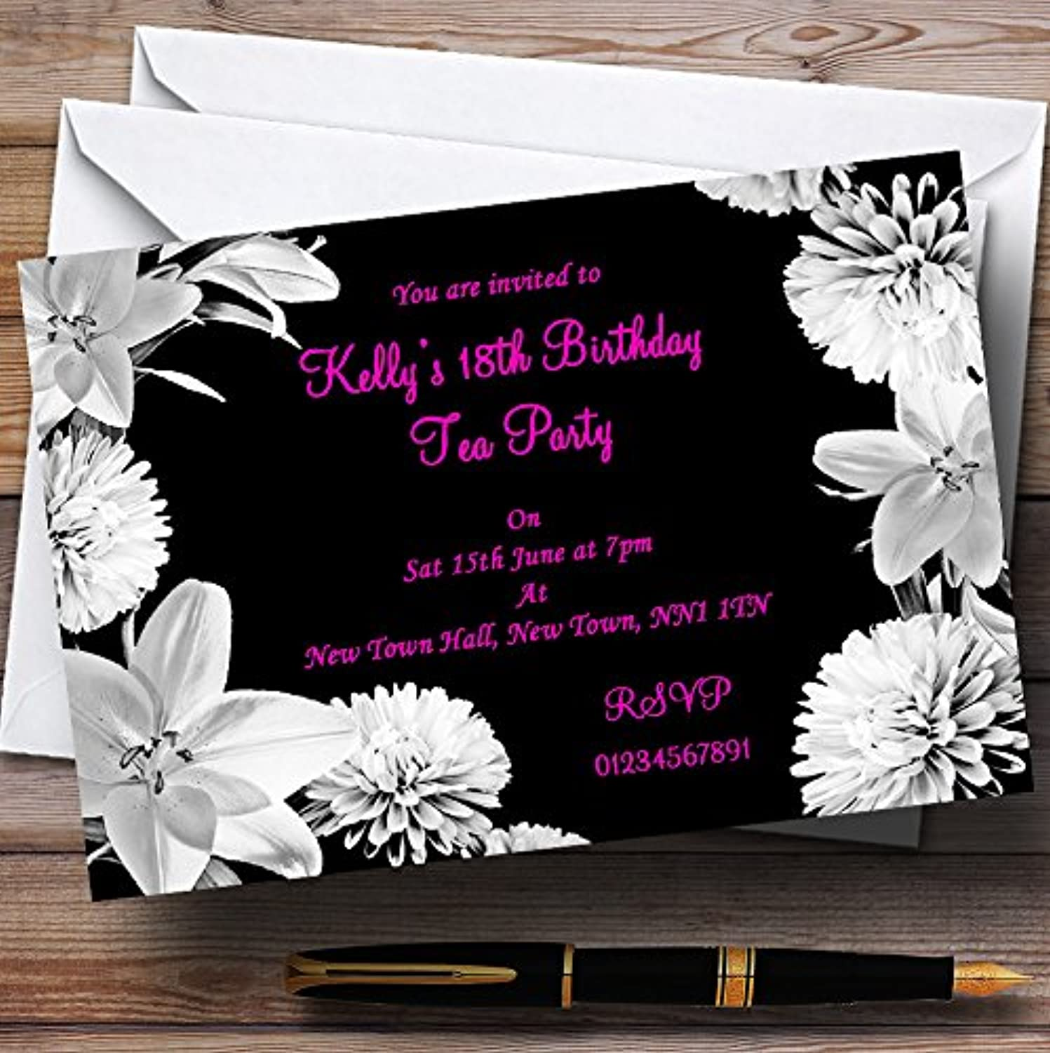Stunning Lily Flowers Black Pink White Personalised Party Invitations   Invites & Envelopes
