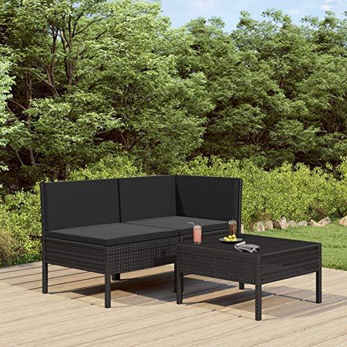 pedkit 3-TLG. Polyrattan Lounge Sitzgruppe Garten Lounge Set mit Auflagen Gartenlounge Gartenmöbel Set für Garten & Terrasse Gartensofagarnitur Poly Rattan Schwarz - 6