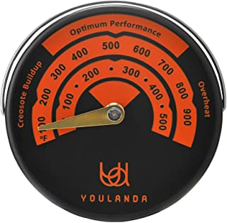 Wood Stove Thermometer,Stove Meter Thermometer for Wood Burning Stoves Top,Flues,Stovepipe Thermometer Measures Temperatures on StoveTop,Avoid Stove Fan Damaged by Overheat