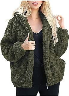 Women's Fuzzy Fleece Fashion Long Sleeve Lapel Zip Up Warm Winter Oversized Outwear Shaggy Coat Jacket with Pocket