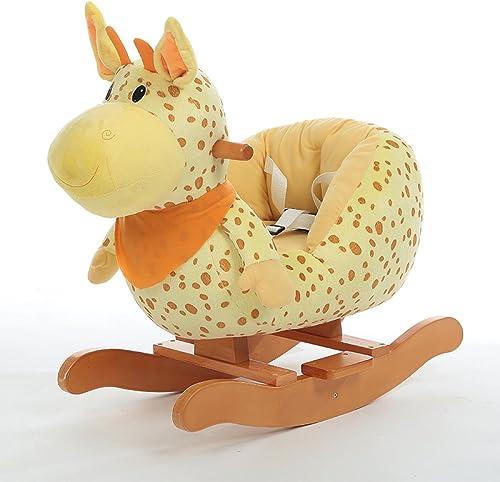 QXMEI Kinder Schaukelpferd Musik Trojaner Spielzeug Baby Schaukelstuhl Massivholz Geschenk 1-4 Jahre Alt,C