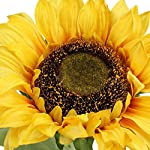 flovewer 30 inch tall 3 pcs long stem artificial large plants plastic stem silk sunflowers bouquet for indoor outdoor fireplace home farmhouse party wedding decor (yellow)