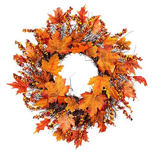 Evilandat Giorno del Ringraziamento Grande Ghirlanda con Foglie di Acero di Zucca Berry Frumento Autunno Porta Ornamento di Raccolta Decorazione Ghirlanda