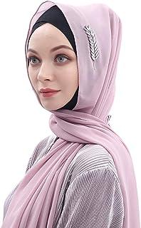 """Muslim Women Head Wrap Chiffon Hijab Scarf Rhinestone Lightweight Soft Shawl Islamic Headwear 70""""X30"""""""