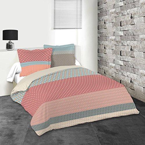 LOVELY CASA Valencia Housse DE Couette 240X220 CM + 2 TAIES 63X63 CM, Coton, Rouge