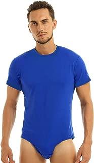 Men's Turn-Down Collar Short Sleeve Button Crotch Shirt Leotard One Piece Snappies Bodysuit