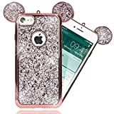 NALIA Purpurina Funda Orejas Compatible con iPhone 7, Carcasa Protectora Movil Silicona Glitter Gel Bumper Estuche, Lentejuela Cubierta Delgado Cover Ligera Smart-Phone Case, Color:Rosa Gold Oro