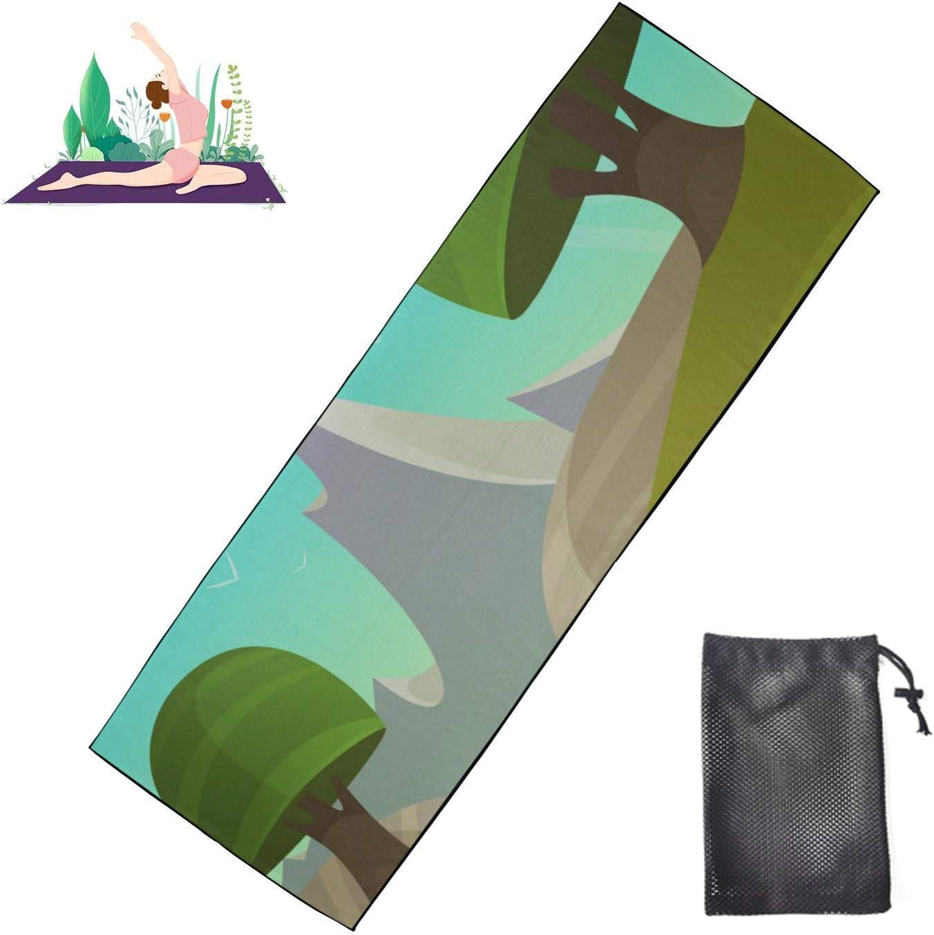 Austin Mall HJSHG Yoga Mat Towel Vector Landscape Fantasy Cartoon Albuquerque Mall