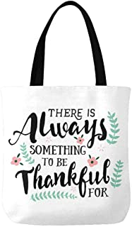 InterestPrint Christian Bible Verse Always Something to Be Thankful Canvas Tote Bags Reusable Shopping Bags Grocery Bags Party Supply Bags for Women Men Kids