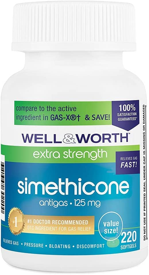 Gas Relief Simethicone 125 MG SoftGels by Well & Worth, Value Size 220 Count : Health & Household