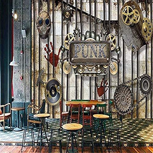 XHXI 3D Wall Murals for Living Room Custom 3D Wallpaper Abstract Nostalgic Machine Gears Entertainment Restaurant Decora 3D Wallpaper Paste Living Room The Wall for Bedroom Mural border-150cm×105cm
