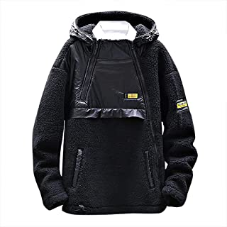 Landscap Men's Color Block Varsity Jackets Casual Warm and Comfortable Splice Cotton Fleece Hooded Coat
