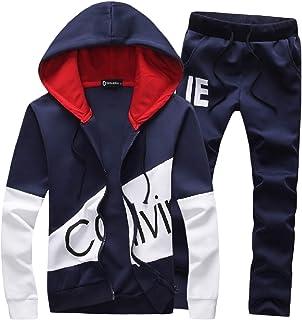 Macondoo Mens Two Pieces Juniors Pants Slim Sports Hooded Coat Tracksuit Set