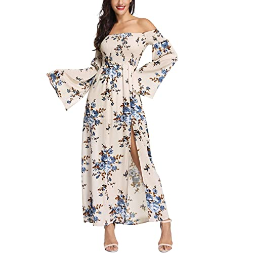 19193c893c1a9 Azalosie Women Off Shoulder Maxi Dress Maternity Floral Short Sleeve Empire  Waist Slit Dress Summer Party