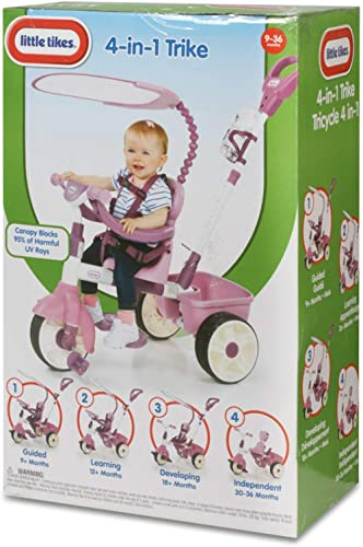 Little Tikes 4-in-1 Basic Edition Trike - Pink, 44.50 L x 20.00 W x 39.50 H Inches