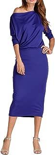 Plus Size Sleeve Tunic Bodycon Dress Sexy Off Shoulder Black Blue Red Long Autumn Dress Women