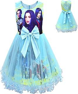 Descendants Costume Tutu Dress for Girls Birthday Party Baptism Mesh Princess Dress Up Tulle Dress Outfits