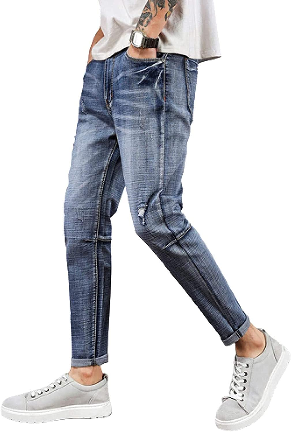 ZYUEER safety Men's Ripped Denim Jeans Free shipping Stretch Comfortable Wea Fit Slim