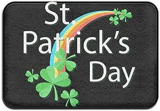 HUYF743 Lucky 4-Leaf Clover St. Patrick's Day Designed Doormat Entrance Mat Floor Mat Rug Indoor/Outdoor/Front Door/Bathroom Mats Rubber Non Slip