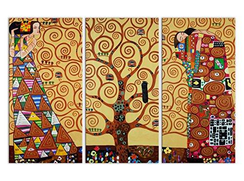 World Art, TWKL092TVAT-02, L'albero delle vita, Dipinti olio su tela Falsi d'autore, 120 x 80 x 2 Cm