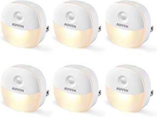 AUVON Plug-in LED Night Light, Mini Warm White LED Plug in Nightlight with Automatic Dusk to Dawn Sensor and Adjustable Brightness for Bedroom, Bathroom, Kitchen, Hallway, Stairs (6 Pack)