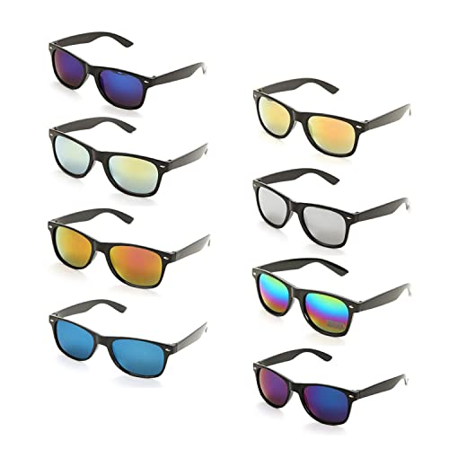 9bfe3078b2b Onnea 8 Pack Wholesale Unisex 80 S Retro Style Promotional Mirror Lens Sunglasses  Bulk
