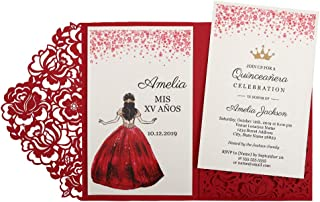 Doris Home 50pc 4.7 x7 inch Red Laser Cut Hollow Floral Wedding Invitations Cards with Envelopes for Wedding Bridal Shower Sweet 16 Quinceañera Birthday Invites