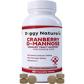 Pet Health Pharma Cranberry D-Mannose for Dogs and Cats Urinary Tract Infection Support Prevents and Eliminates UTI, Bladder Infection Kidney Support, Antioxidant (Doggy Naturals)