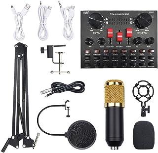 مجموعة ميكروفون بمعدات تسجيل الصوت بي ام 800 متعدد الوظائف (اسود وذهبي)