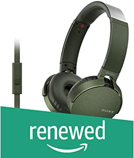 (Renewed) Sony MDR-XB550AP On-Ear Extra Bass Headphones with Mic (Green)