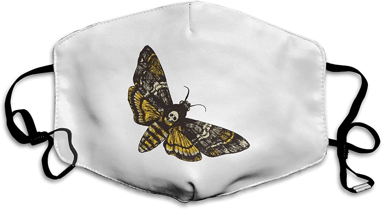 Deaths Head Hawk Moth Hand Drawn Reusable Windproof Face Mask Balaclava Face Covering for Adult Men Women Washable Outdoor White