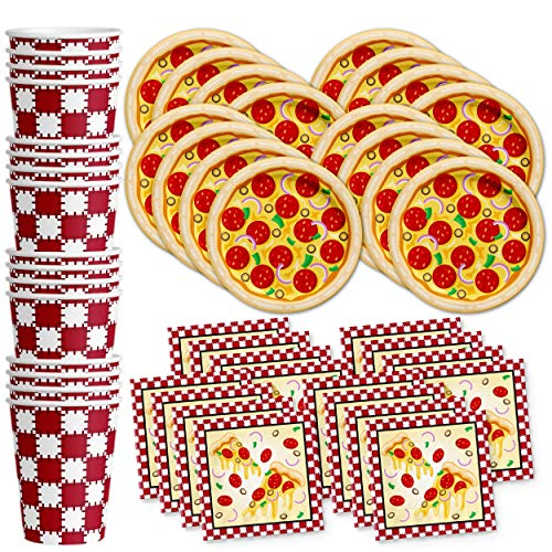 Pizza Birthday Party Supplies Set Plates Napkins Cups Tableware Kit for 16