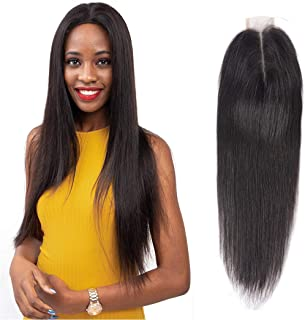 Brazilian Straight Hair Closure Middle Part 2x6 Closure 130% Pre Plucked Lace Front Closure Remy Hair Unprocessed Sew In Hair Weave Wet And Wavy Virgin Brazilian Hair With Closure 1b(14 Inch)