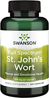 Swanson St. John's Wort Mood Regulation Stress Response Relaxation Emotional Wellbeing Support Supplement 375 mg 120 Capsules