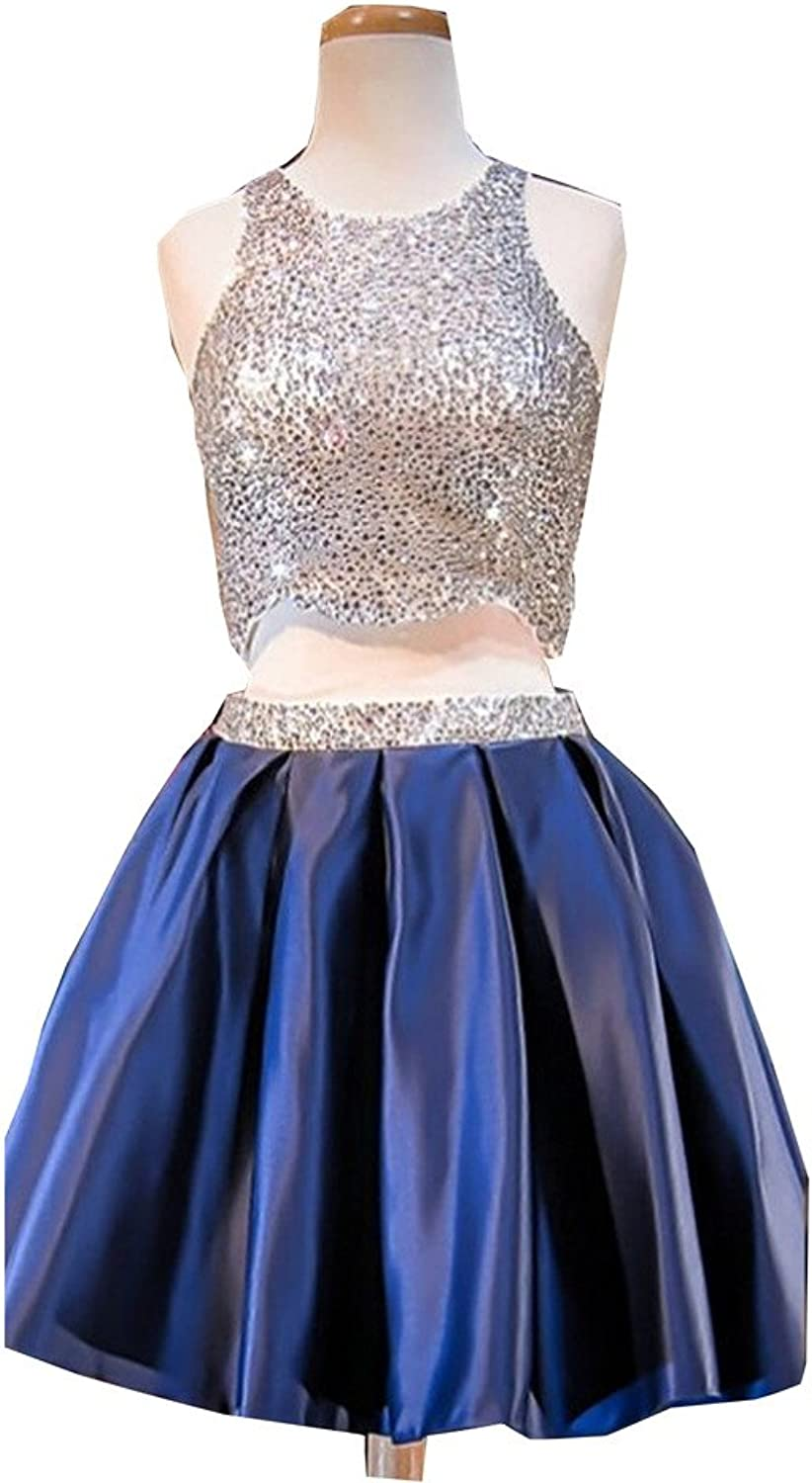 Sound of blossoming Beaded Two Pieces Short Prom Homecoming Dress Party Gown 119