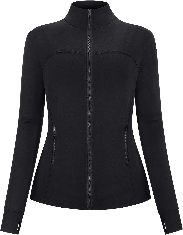 Hibelle Womens Full Zip Running Track Jacket Workout Plain//Tie Dye Jackets with Zipper Pockets