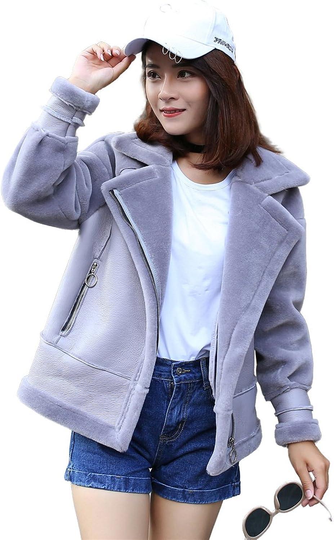 SPRINGWIND Luxury Women Coat Jacket Farm Shearling Lamb Fur Parka for Winter Zip Pockets