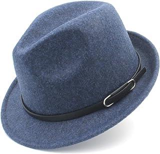 JAUROUXIYUJIN New Wool Women Men Fedora Hat for Winter Autumn Elegant Lady Gangster Cap Felt Homburg Church Jazz Hat (Color : Blue, Size : 57-58cm)