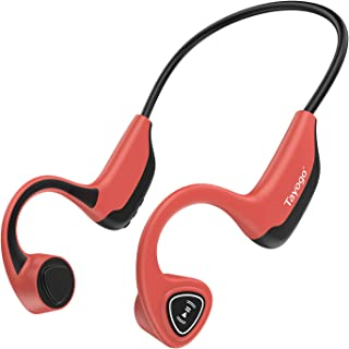 Tayogo Bone Conduction Headphones with Microphone Bluetooth 5.0 Open Ear Wireless Earphones for Running, Sports, Fitness - Red