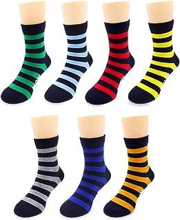 Crew Socks for Boys, Days of the Week Stripe Socks for Toddler Big Little Kids - 7 Pairs
